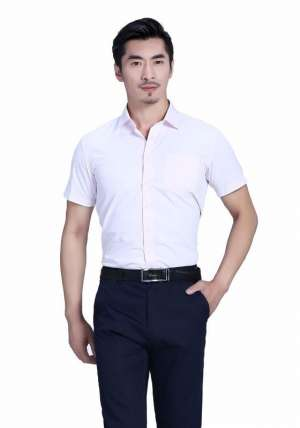 粉色全棉商务短袖衬衫